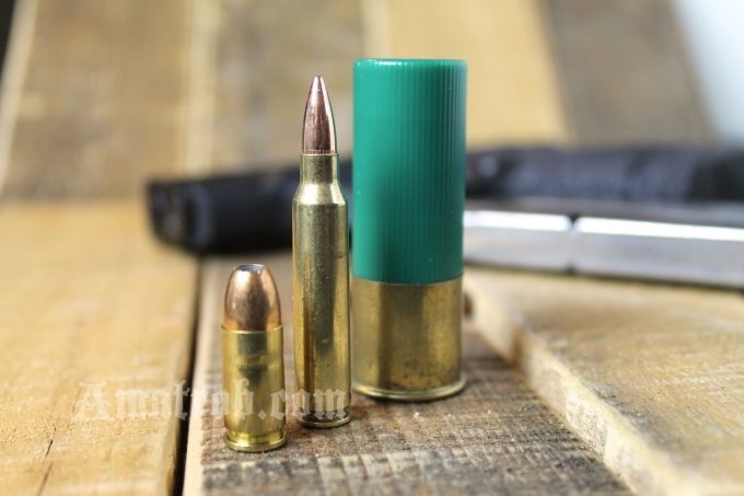 9mm, 5.56 x 49, 1oz shotgun slug