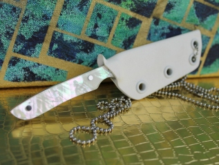 Slim Profile Neck Knife with Angel WingHandle